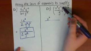 Simplifying expressions using the Laws of Exponents