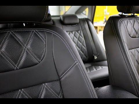 """Чехлы на Hyundai I  40, серии """"Premium"""" с ромбами - серая строчка"""