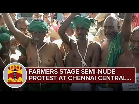 Farmers-stage-Semi-Nude-Protest-at-Chennai-Central-Railway-Station--Thanthi-TV