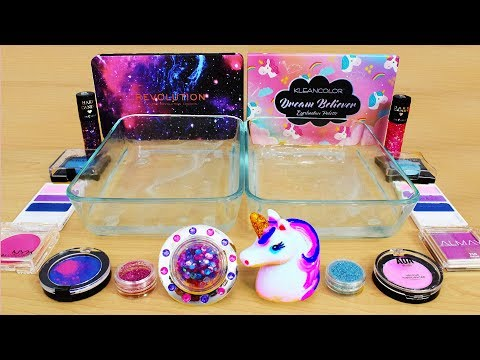 Galaxy Vs Unicorn - Mixing Makeup Eyeshadow Into Slime! Special Series 89 Satisfying Slime Video