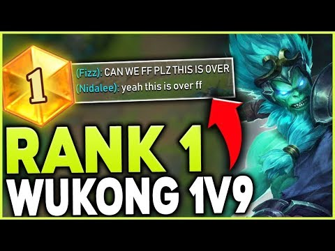 RANK 1 WUKONG WORLD SHOWS HOW TO 1V9 WITH THE MONKEY KING (SEASON 9) - League of Legends