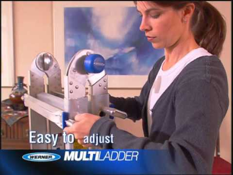 multi purpose ladders - Werner MT Telescoping Ladder easily converts to a twin stepladder, stairway stepladder, extension ladder or 2 scaffold bases.