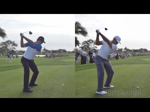 TIGER WOODS VS JUSTIN ROSE – SYNCED SIDE BY SIDE – 2013 GOLF SWING REG & SLOW MOTION – 1080p HD