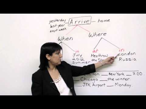 on - http://www.engvid.com/ Arrive at, on, or in a city? Arrive on, in, or at Monday? In this basic grammar lesson, I'll show you the right preposition to use wit...
