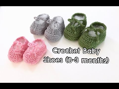 How to Crochet Baby Shoes (0-3 months) - fine yarn