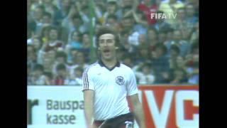 Highlights of a comprehensive win for Germany FR against Chile at the 1982 FIFA World Cup. Karl-Heinz Rummenigge was the...