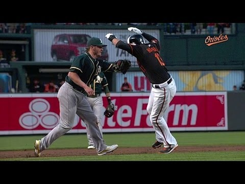 tags - 6/6/14: Manny Machado and Josh Donaldson exchange a few words to one another after Machado is tagged out running to third base Check out http://m.mlb.com/vid...