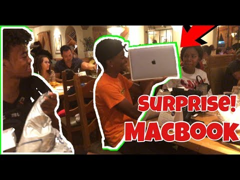SURPRISED TRAY WITH A NEW MACBOOK COMPUTER!!!