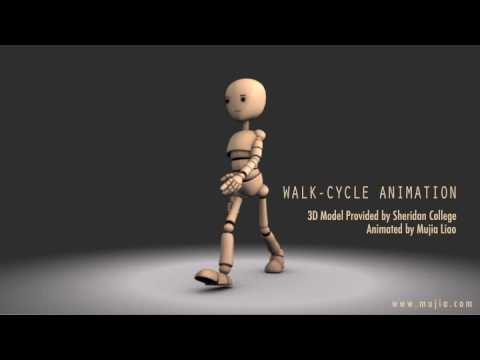 Female cartoon walk cycle