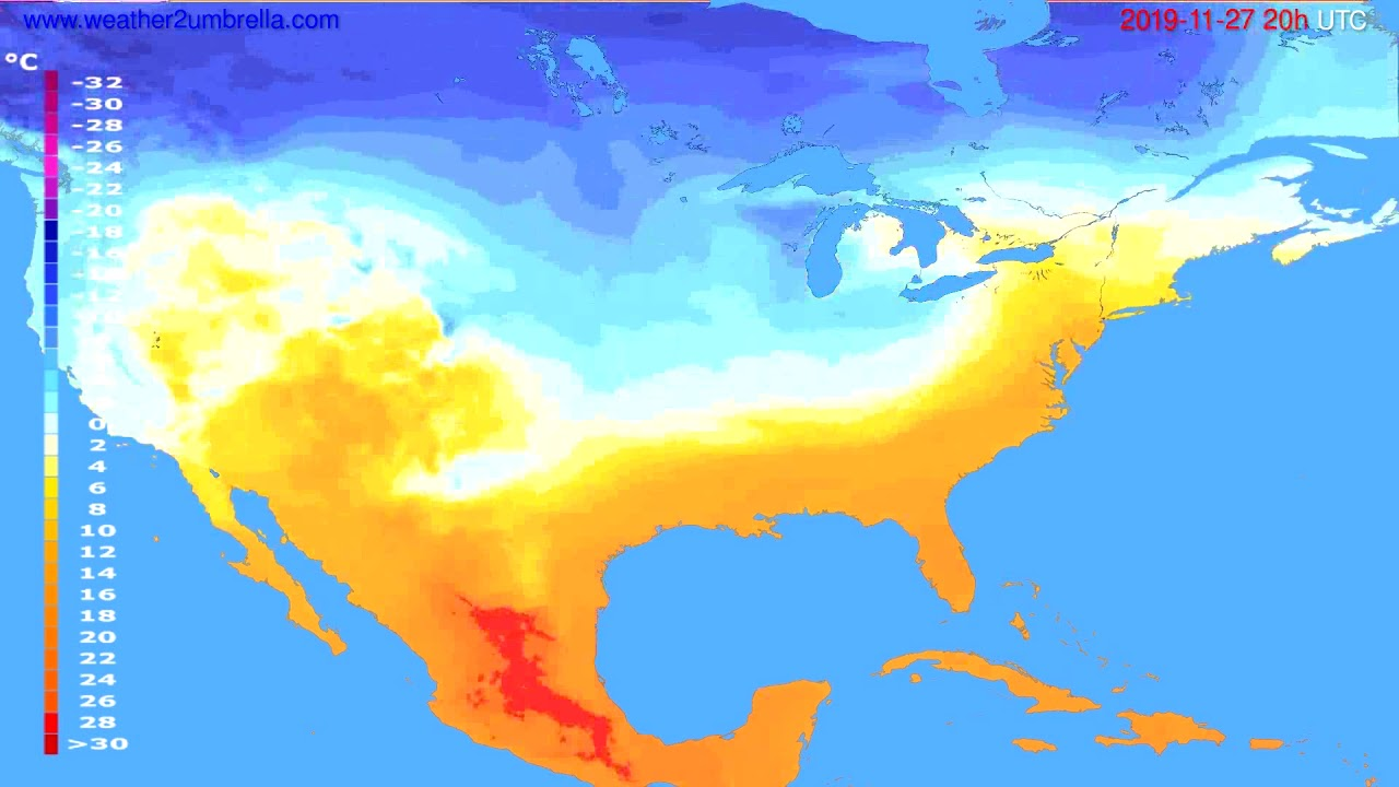 Temperature forecast USA & Canada // modelrun: 12h UTC 2019-11-26