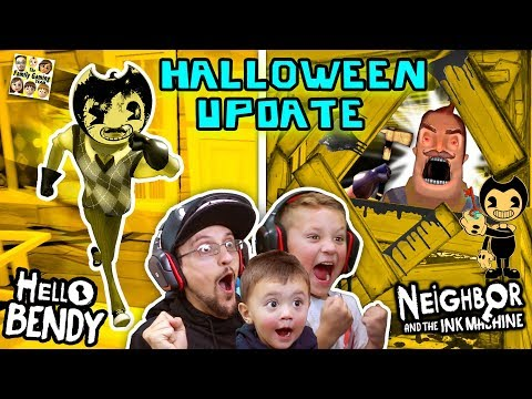 HELLO BENDY + NEIGHBOR & the INK MACHINE Halloween Mod! FGTEEV-ers LETS CELEBRATE! Surprise Gameplay (видео)