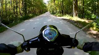 8. Rustic Road 65 heading west on a Genuine Buddy 125 scooter