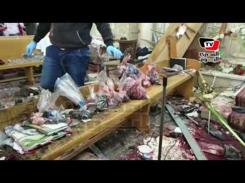 «أشلاء ودماء».. اللقطات الأولي داخل كنيسة مارجرجس بطنطا بعد التفجير