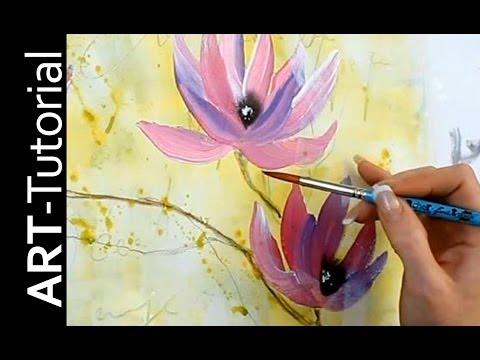 Abstrakte Magnolie mit einfachen Pinselstrichen – Einfach malen – Tutorial von zAcheR-fineT