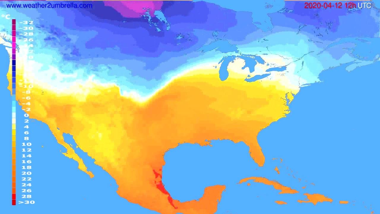 Temperature forecast USA & Canada // modelrun: 00h UTC 2020-04-12