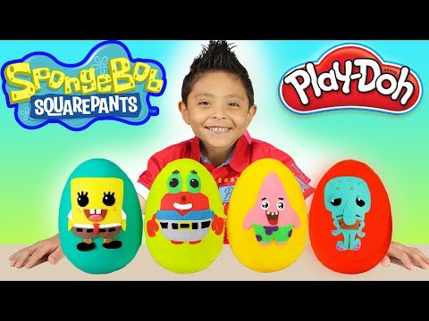 NEW Spongebob Squarepants Play-Doh Surprise Eggs Kids Toys Patrick Mr Crabs Squidward Fun Kids Toys