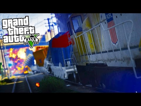 GTA 5 Mods - REALISTIC LONGER TRAINS MOD! FLYING TRAINS! CRAZY CRASHES!
