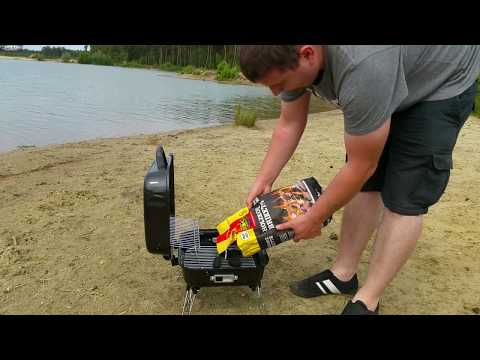 Camping Grill Koffergrill Aufbau und Praxistest outdoor am See