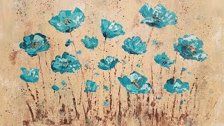 Easy Abstract Poppies Palette Knife Techniques Acrylic Painting Tutorial LIVE Step by Step Lesson