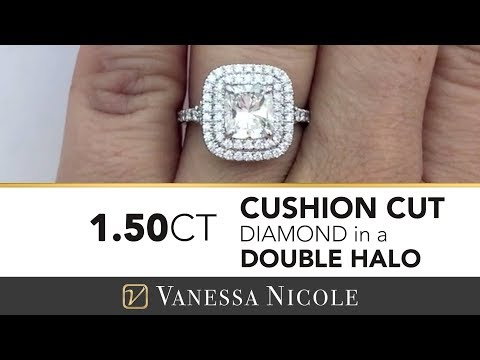 1.50ct Double Halo Cushion Cut Ring -  Engagement Ring for Laura - Vanessa Nicole Jewels