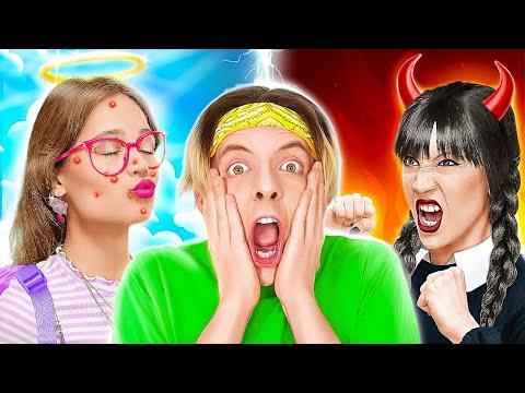 OMG! ANGEL AND DEMON CONTROL ME || Inside Out Good VS Evil Rules! Funny Pranks Emoji By 123 GO! BOYS