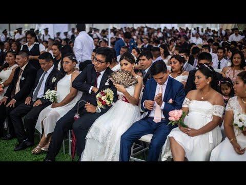 Massenhochzeit am Valentinstag in Lima (Peru)