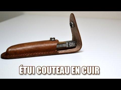 Étui à couteau de poche en cuir véritable