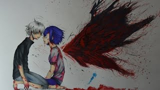 Hi there everybody!Here' s the video of drawing Kaneki Ken and Touka Kirishima from Tokyo Ghoul!Don' t forget to leave a like if you enjoyed this video, and also subscribe if you want to see more!Characters: Kaneki Ken; Touka Kirishima;Anime: Tokyo Ghoul;Reference: http://data1.whicdn.com/images/130179322/large.jpgPaper format: A3Time: 10h+Tools used: Faber Castell 4=2H pencil for sketching, Faber Castell Ecco Pigment 0.3 for inking, Faber Castell Polychromos and watercolors for coloring.Music: https://www.youtube.com/watch?v=_mENKIinCrA