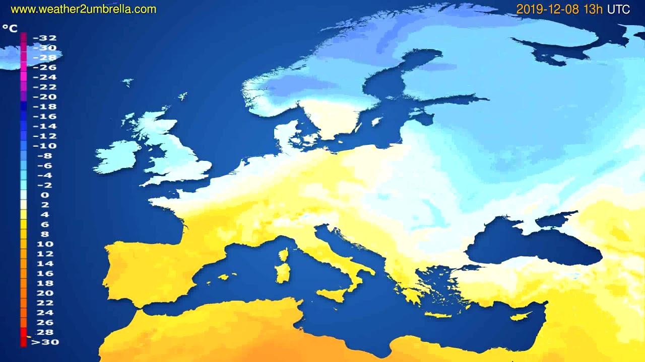 Temperature forecast Europe // modelrun: 12h UTC 2019-12-06