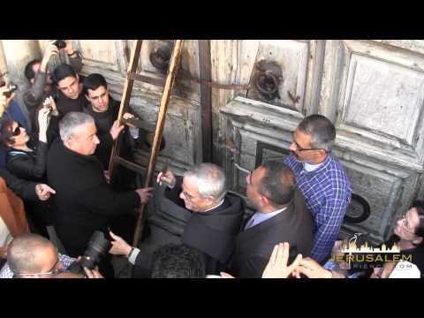 Opening the Door of the Church of the Holy Sepulchre