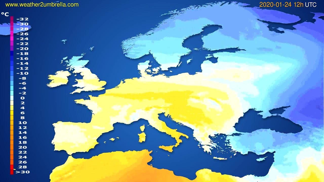 Temperature forecast Europe // modelrun: 12h UTC 2020-01-23