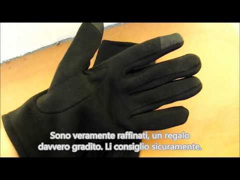 Guanti touch da uomo in cotone caldo e pelle imbottiti per inverno Vbiger