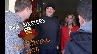 Please subscribe to us on YouTube, Share our videos on your social networks, like us on Facebook, and follow us on Twitter. Thank you and God Bless!The PraYnksters surprise unsuspecting families with full Thanksgiving dinners. Check out past videos to see the funny ways we raised money to buy the dinners.  Thank you to everyone who shared and liked our video and everyone who donated their time, money, and food to make this video happen. During this holiday season look for people who you can help.  Pay it forward, prank it forward, or whatever you want to call it just remember to be kind!www.praynksters.comwww.youtube.com/praynksterswww.facebook.com/praynkstershttp://www.ebay.com/usr/games4god