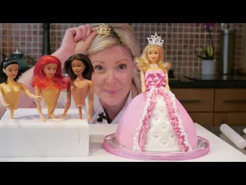 How To Make A Barbie Doll / Princess Cake With Icing - Cake Craft World Video 9