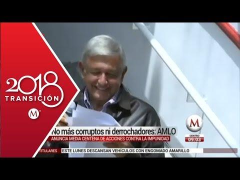 AMLO: no más corruptos ni derrochadores