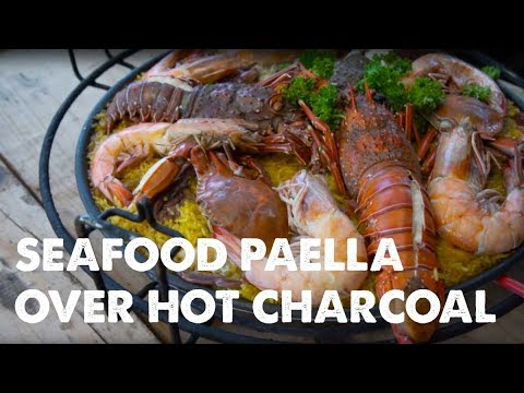 Lobsters, Colossal Shrimp and Crab - Perfect Seafood Paella right on your grill