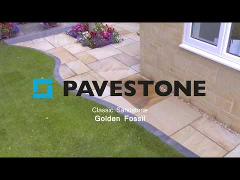 Video of 900mm x 600mm Golden Fossil Sandstone Paving 35 Pieces