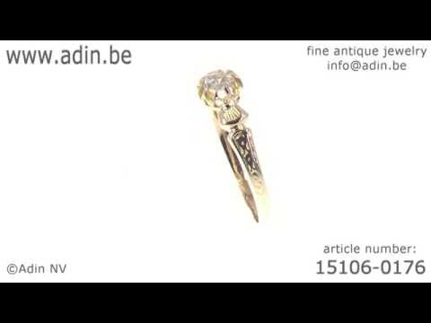 Pretty French antique Victorian gold ring with rose cut diamond. (Adin reference: 15106-0176)
