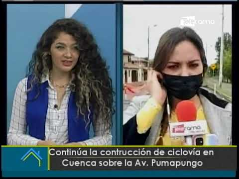 Continúa la construcción de ciclovía en Cuenca sobre la Av. Pumapungo