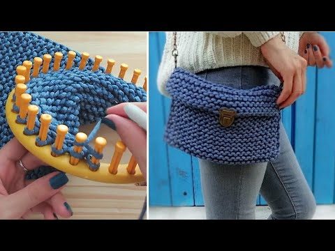 👜 HOW TO KNIT A CLUTCH PURSE/BAG ON ROUND LOOM