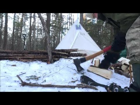 Solo Hot Tent Winter Camping Expedition: -20oc