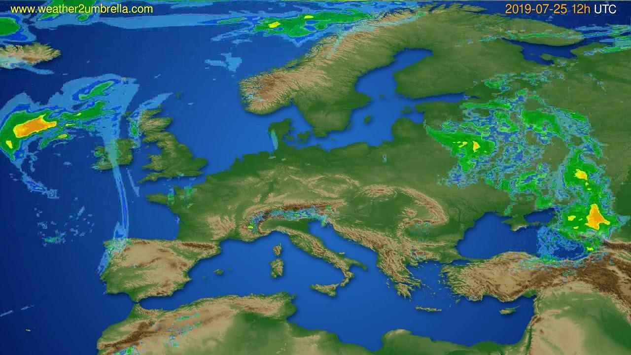Radar forecast Europe // modelrun: 00h UTC 2019-07-25