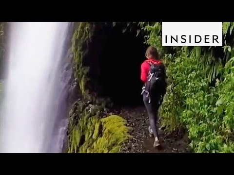 Walking Through a Waterfall at Tunnel Falls