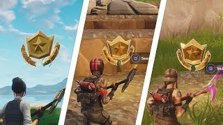 Fortnite Battle Royale - All 7 Secret Season 5 Battle Star Locations Guide (Free Battle Pass Tiers)