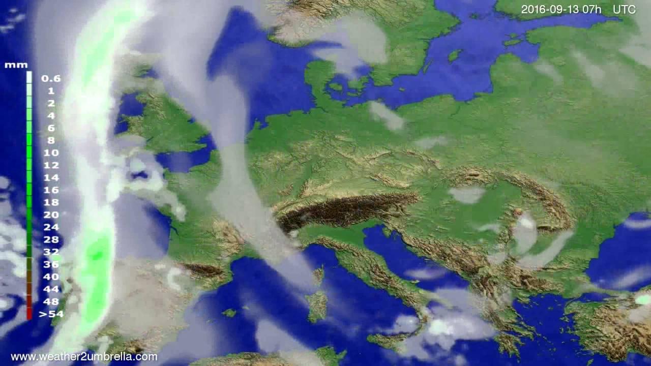 Precipitation forecast Europe 2016-09-09