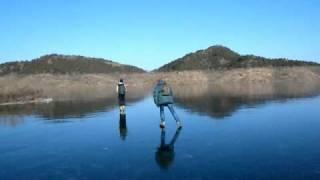 Ice skating at Miyun reservoir, north of Beijing