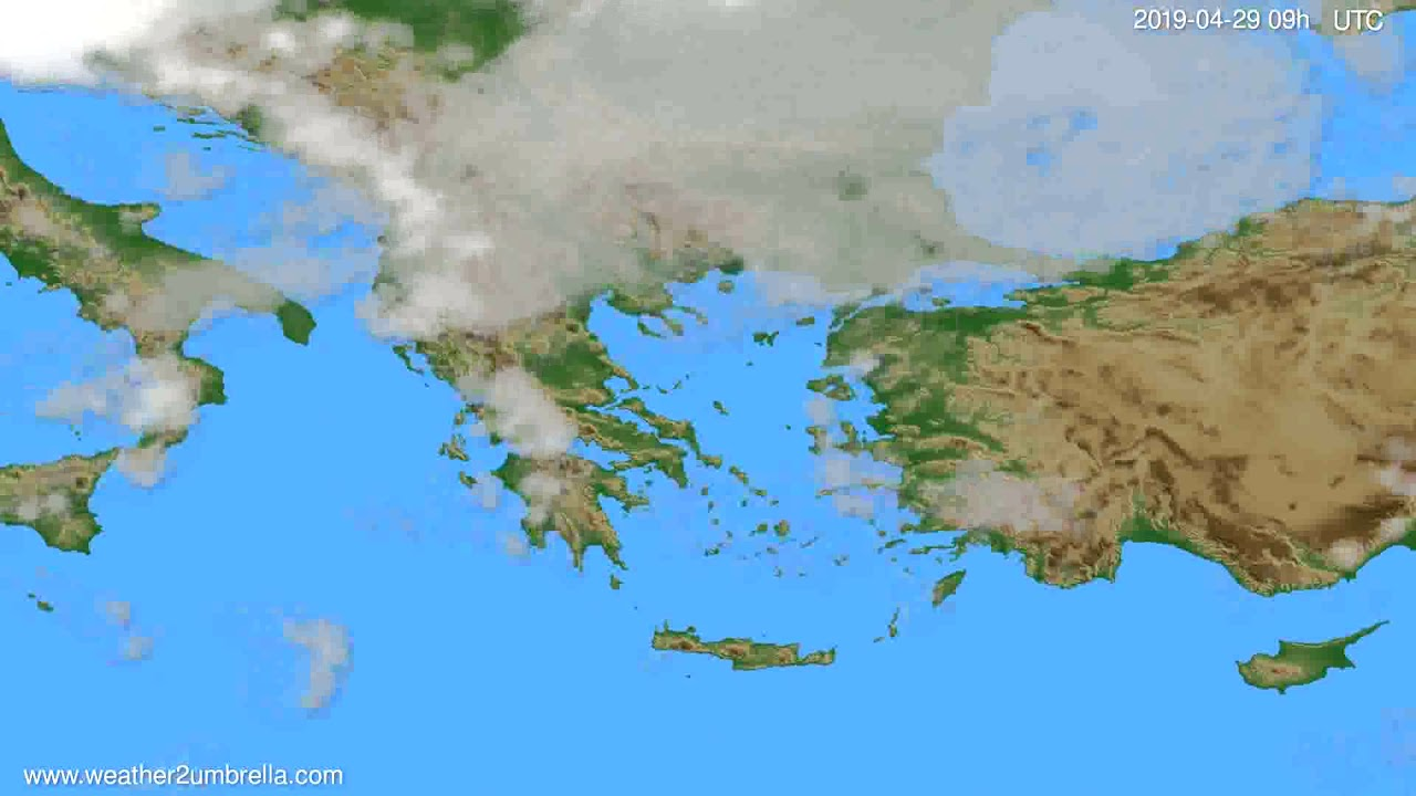 Cloud forecast Greece // modelrun: 12h UTC 2019-04-27