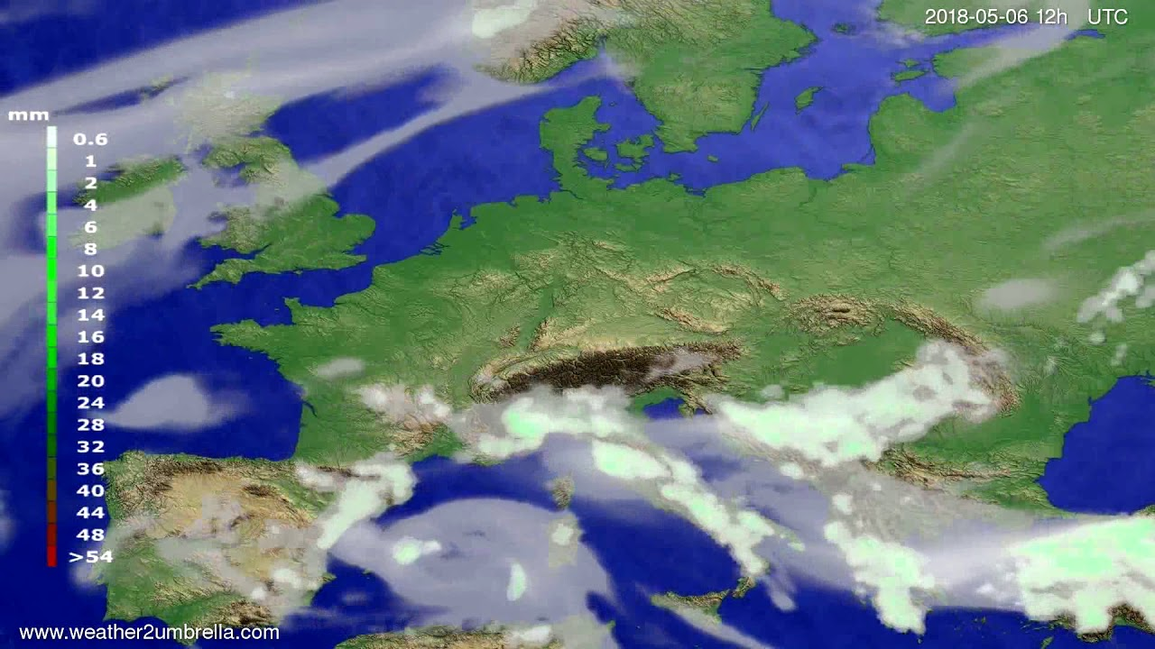 Precipitation forecast Europe 2018-05-02