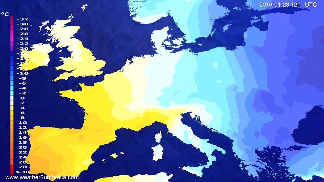 Temperature forecast Europe 2016-01-19