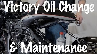 8. How to do routine maintenance oil change on Victory Motorcycle 106 Freedom V-Twin